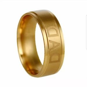 New Man Stainless Steel DAD Band Ring Gold